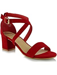 f861a95f62b Womens Strappy Sandals Block Mid Low Heel Ladies Ankle Strap Party Evening  Shoes Size 3-