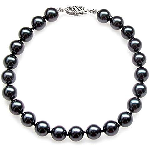 Oro bianco 14 k, con perle tonde coltivate Akoya giapponese nero, qualità AAA (6, 5-7 mm