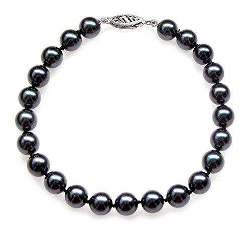 14K Or Blanc Noir Perle de culture Akoya japonais Bracelet de qualité AA + (7-7,5mm)