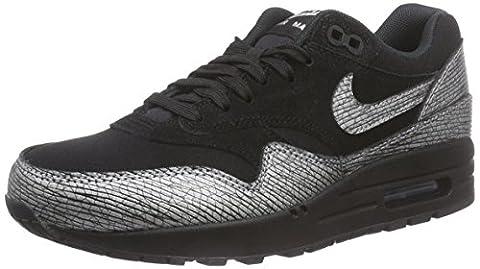 Nike Air Max 1 Prm, Sneakers Basses femme - Noir - Schwarz (Black/Metallic Hematite-Black), 38.5