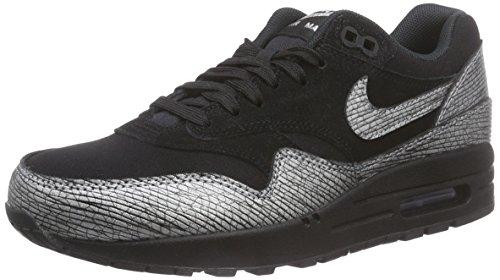 Nike WMNS AIR MAX 1 PRM, Sneakers Basses femme Noir - Schwarz (Black/Metallic Hematite-Black)