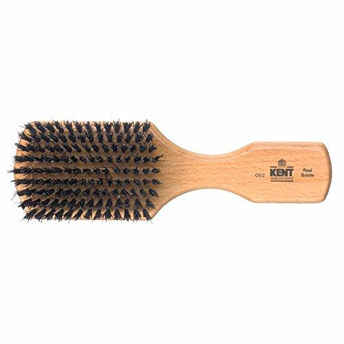 Kent Brushes Brosse plate rectangulaire à manche en hêtre et poils naturels noirs pour homme