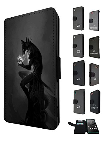 1105 - cool fun scary full moon werewolf wolf skull vampire Design Sony Xperia Z5 Compact / Mini Fashion Trend TPU Leder Brieftasche Hülle Flip Cover Book Wallet Credit Card (Scary Wolf)