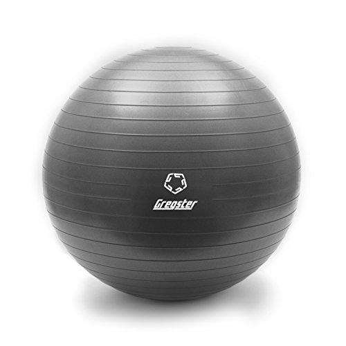 Gregster Gymnastikball, gut geeignet als Fitnessball, Yogaball oder Pilatesball, 75 cm, grau