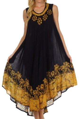 Sakkas 40SE Sundari Kaftan-Behälter-Kleid / Cover Up - Schwarz / Sand - One Size