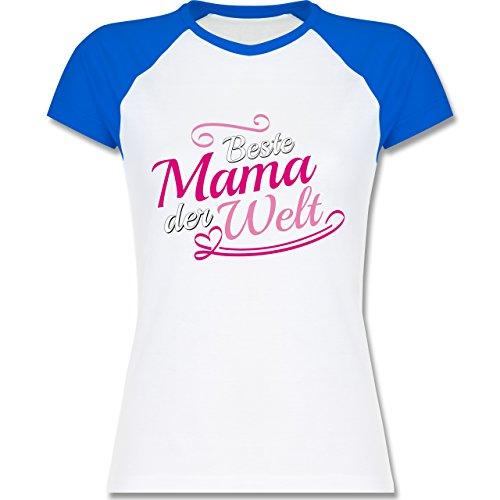 ... Damen Weiß/Royalblau. Shirtracer Muttertag - Beste Mama der Welt - Zweifarbiges  Baseballshirt/Raglan T-Shirt für
