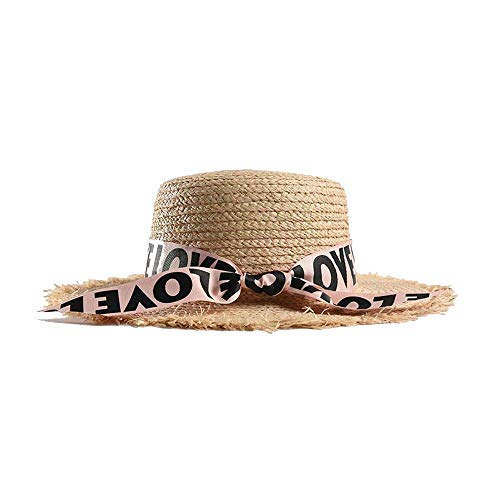 2019 Persönlichkeit Sonnenhut, Damen Sonnenhut Sommer Lafite Straw Beach Panama Hut Bänder Raw Edge Flat Top, YTTY, Rosa,