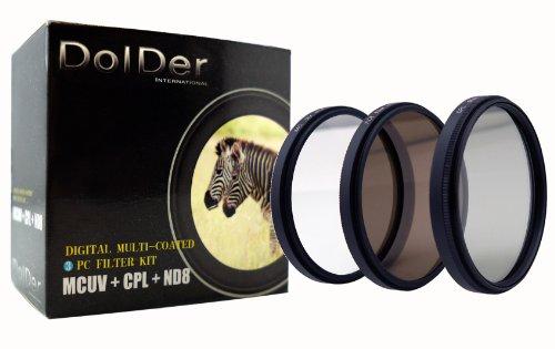 Dolder 58mm HD Multicoated/ Mehrfachbeschichteter 3 in 1 Filtersets inkusive UV, Zircular POL, ND-8 mit Filtertasche aus Nylon