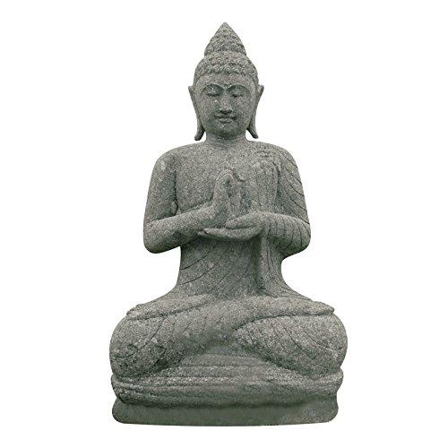 Lehrende Buddha Statue sitzend 80cm Naturstein Skulptur Gartenfigur Steinfigur