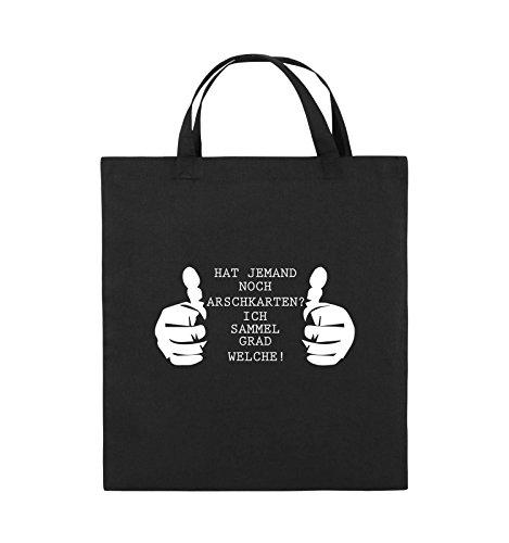 Comedy Bags - HAT JEMAND NOCH ARSCHKARTEN - Jutebeutel - kurze Henkel - 38x42cm - Farbe: Schwarz / Pink Schwarz / Weiss