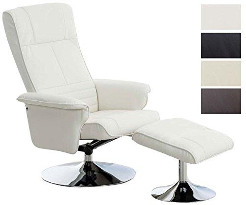 CLP TV Stuhl ELESTRIA mit Kunstlederbezug, Fernsehsessel mit verstellbarer Rückenlehne, Relaxsessel, Sessel mit Hocker, Fernsehstuhl, Chefsessel mit Armlehne Weiß