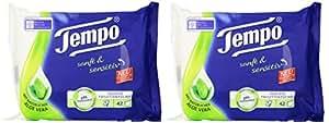 Tempo Feuchte Toilettentücher sanft & sensitiv, parfümfreie Feuchttücher mit natürlicher Aloe Vera, 2 x 42 Tücher (84 Tücher)