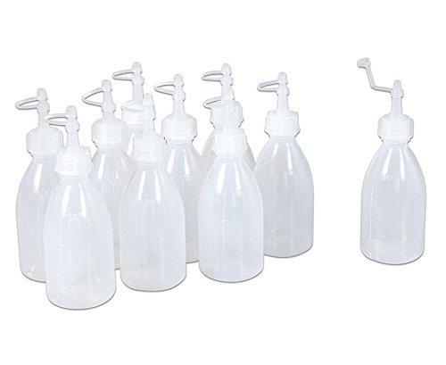 Preisvergleich Produktbild Betzold 10 Leerflaschen, Plastikflasche, für Kleber, Window Colour, Acrylfarbe, etc., Set mit 10 Flaschen à 120 ml - Kleber-Flaschen Basteln Kindergarten Krippe Klebstoff-Flaschen Nachfüllflaschen