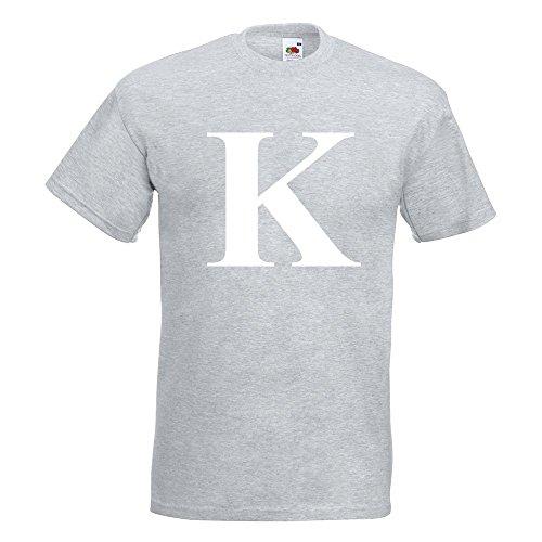 KIWISTAR - Buchstabe K - Alphabet T-Shirt in 15 verschiedenen Farben - Herren Funshirt bedruckt Design Sprüche Spruch Motive Oberteil Baumwolle Print Größe S M L XL XXL Graumeliert