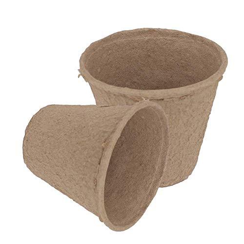 Lvcky Lot de 100 Pots de semis Ronds en Fibre biodégradable avec 100 étiquettes en Plastique Blanc 8,9 cm