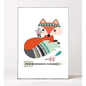 DIN A4 Kunstdruck Poster FUCHS & PFEIL -ungerahmt- Tier, Bild, Boho, Kinderzimmer, Waldtier