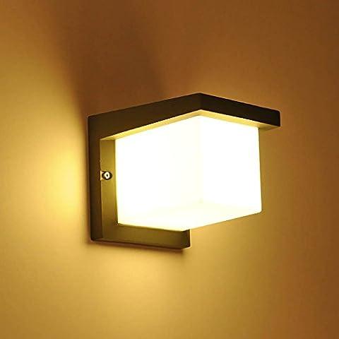 Glighone Applique Murale Extérieur LED Moderne 10W Étanche Imperméable IP54 Design Carré en Acrylique Eclairage Décoratif Lumière Pour Jardin Terrasse Mur Patio Villa Cour Blanc Froid
