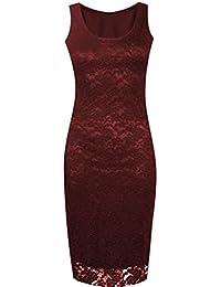 Lush Clothing C8-Floral Lace Bodycon Sleeveless Long Ladies Womens Midi Dress-Uk Size - Wine - Uk 20-22