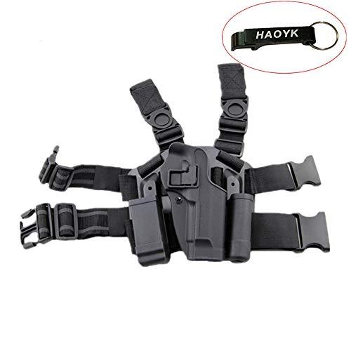 haoYK Réglable Tactique Airsoft Pistolet Gauche Leg Holster Sac Cuisse Droite Holster Leg avec Magazine Torch Pouch pour M9 M92 (Noir)