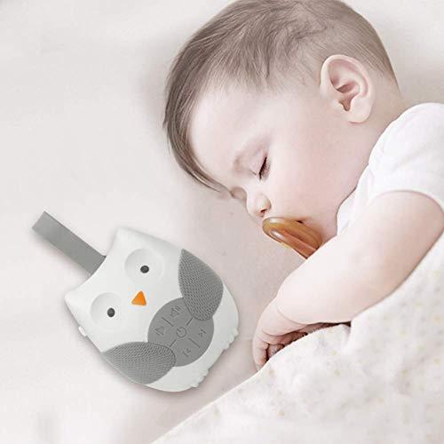 Baby Sleeping Cartoon Owl White Noise Machine Ciuccio Registrazione vocale Sensore vocale con 12 suoni rilassanti Timer spegnimento automatico Monitor per bambini