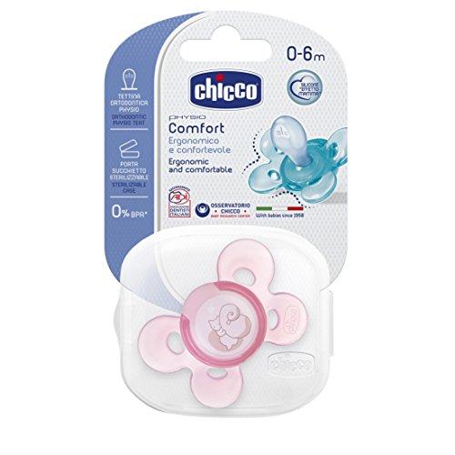Chicco 00074911110000 Comfort Girl Succhietto, Silicone, Rosa, 0-6 Mesi