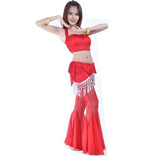 Byjia Frauen Blitz Silber Tuch Anzug Bauch Tanz Kleidung Kostüm Professionelle Performance Match Praxis Set . Red . (Tanz Kostüme Bauch Size Plus)