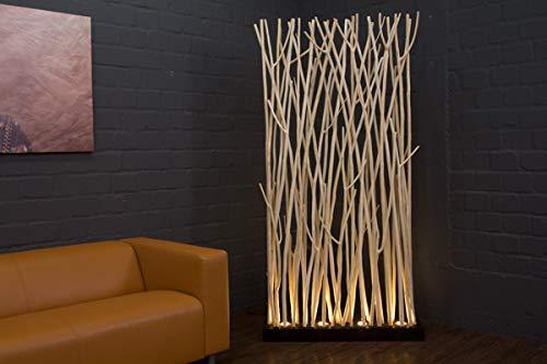 Massivholz Raumteiler (Raumteiler Stehlampe, Stehleuchte aus Massivholz, Astlampe, Lampe aus Suar Holzästen, große Standleuchte mit Verästelungen, Raumtrenner Standleuchte, LED Standlampe mit Natur Ästen, 200x100)