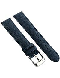 10mm bande de montre en cuir de buffle véritable sangle rembourrée pour homme Mesdames SS Boucle Bleu/Bleu