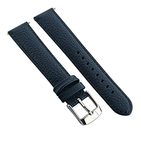 18mm Genuine Buffalo Grain Leather Watch Strap Band Mens Ladies Padded SS Buckle Blue/Blue