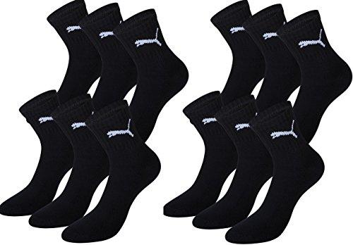 Puma Uomo Short Crew Socks suola  Pack calzini sportivi Black