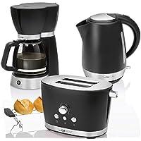 CTC Set Desayuno Vintage, Cafetera de goteo 15 tazas, Tostadora de pan 2 rebanadas, Hervidor de agua eléctrico 1,7 litros, negro estilo Retro