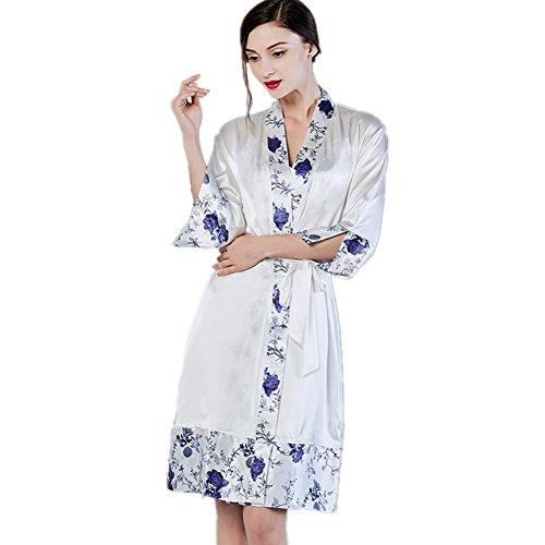 Porzellan Kostüm Puppen (DMMSS Damen Silk Pyjamas Silk Bequeme Bademäntel Elegantes Retro Blau Und Weiß Porzellan Home Service 2-Teiliges V-Ausschnitt Bedrucktes Sling + Nightgown , M ,)