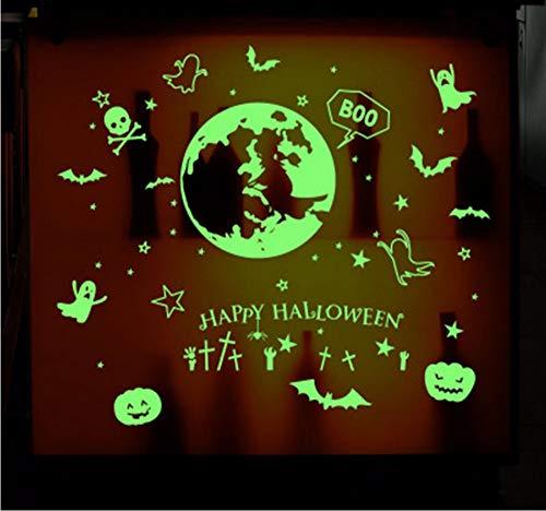 e Dark Wandaufkleber Leuchtfledermaus Kürbis Geist Happy Halloween Wandtattoos Kinderzimmer Kindergarten Fensterglas Dekor Kunst ()