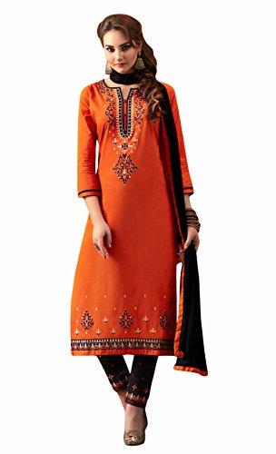 Orange colour embroidery cotton unstitched Straight churidar cotton-salwar-kameez