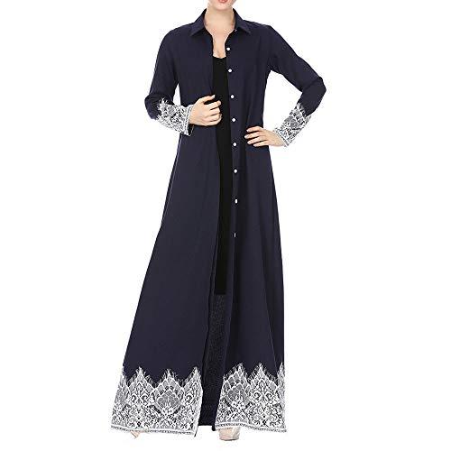 Muslimische Kleidung Damen Roben Strickjacken Frauen Islamischer Kleidung Spitze Patchwork Abaya Muslim Kaftan Maxi Kimono Muslimische Roben Oberteil Islamischer Mantel Islamische Kleidung - Stricken Kimono-robe