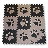 Meitoku Alfombra de Goma EVA para niños con puzle. 10 alfombras de 30 x 30 x 1 cm. Pastas de Perro Beige y marrón.