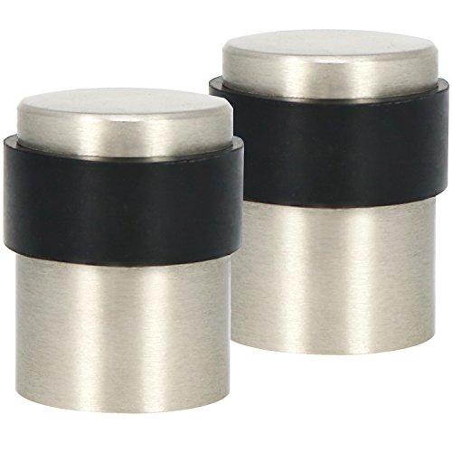 COM-FOUR® 2x Türstopper aus Aluminium im Edelstahllook, Bodentürstopper mit Gummipuffer und Befestigungsmaterial, Ø 3 cm