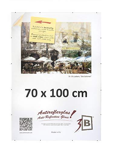 3-B Rahmenloser Bildhalter mit Polyesterglas - Antireflex-Cliprahmen - 70 x 100 cm (Format B1)