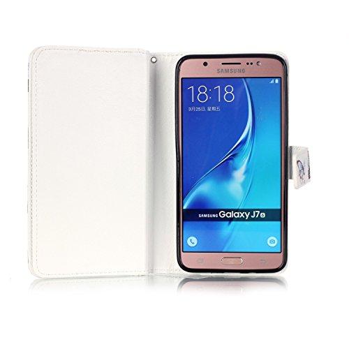 Custodia Samsung Galaxy J7 (2016), Sunroyal® Custodia in Pelle, in Piedi la Vista Diario Custodia Copertura di Vibrazione Portafoglio Flip Cover con Chiusura Magnetica per Samsung Galaxy J7 (2016) SM- Modello 09