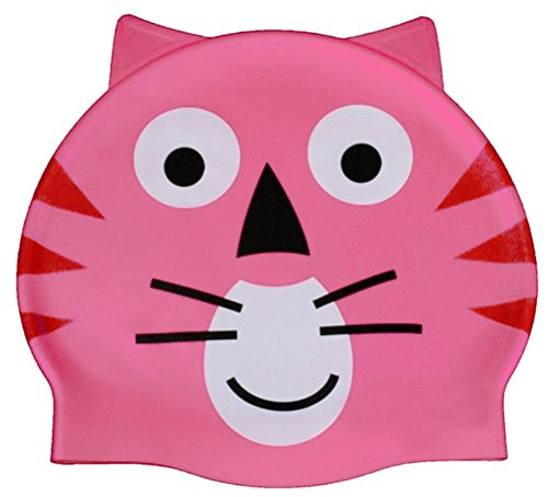 Semplicità bambino adorabile rosa cartoon animal cuffia da nuoto, pink cat