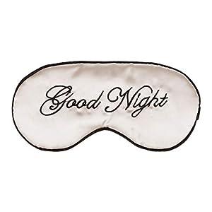 Healifty Seide Schlaf Augenmaske Stickerei Eyeshade große Augenbinde Nacht Blinder für Männer, Frauen und Kinder (Beige)