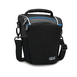 USA Gear Top Loading Digital SLR Camera Case Bag- Works with Canon EOS Rebel SL1 , T5i , T4i , T3i , T3 ( 70D , 100D , 600D , 650D , 700D , 1100D ) with 18-135mm Lens , 18-55mm Lens & Many More Compact DSLR Cameras