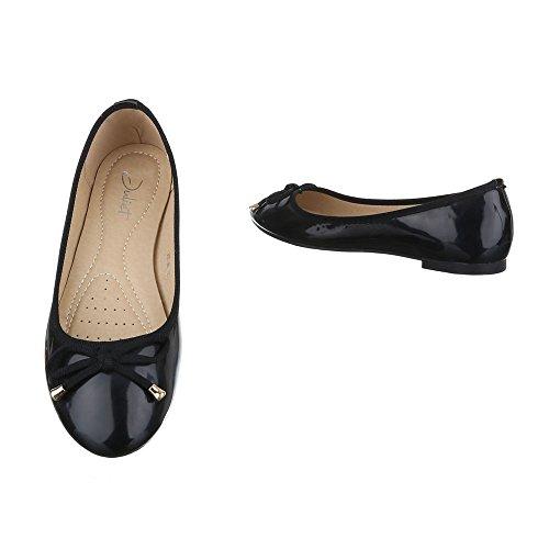 Ballerinas Damen Schuhe Geschlossen Blockabsatz Moderne Ital-Design Ballerinas Schwarz
