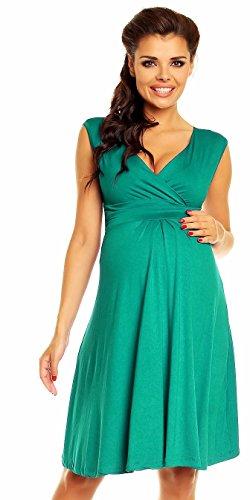 Grünes Schwangerschaftskleid für den Sommer knielang und ohne Ärmel