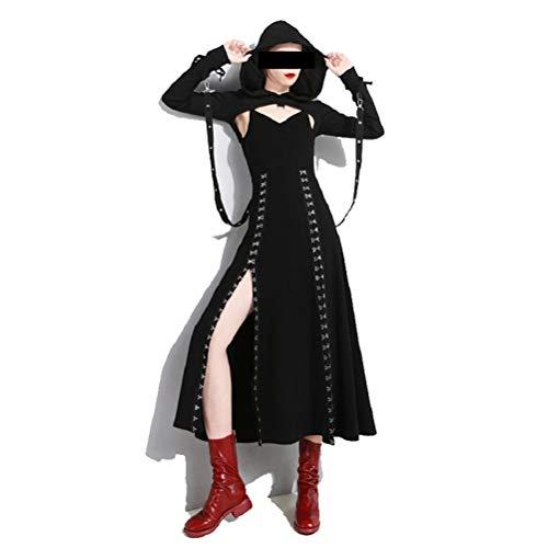 SuperCimi Damen Steampunk Gothic Kostüme Kapuzen Lace Up Vintage Pullover Lange Hoodie Kleid (Halloween-kostüme Viktorianische Gotische)