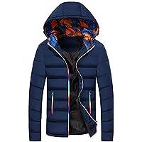 Yvelands Abrigos para Hombre Venta de Invierno Ocasional Cálido con Capucha Invierno Cambio de Color Cremallera Outwear Top Blusa