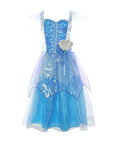 ReliBeauty Mädchen Kleid Falten Flatterärmel Muschel Prinzessin Ariel Meerjungfrau Kostüm, Blau, (Ariel Kostüm Kleid)