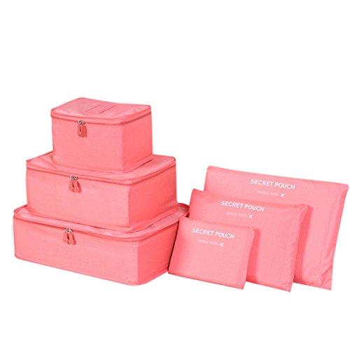 Kleidertaschen-Set 6-teilig Reisetasche in Koffer Wäschebeutel Schuhbeutel Kosmetik Aufbewahrungstasche Farbwahl Orange