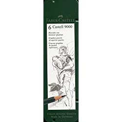 Faber Castell 119063 - Estuche de 6 lápices Castell 9000, graduación HB, B, 2B, 4B 6B y 8B, color negro