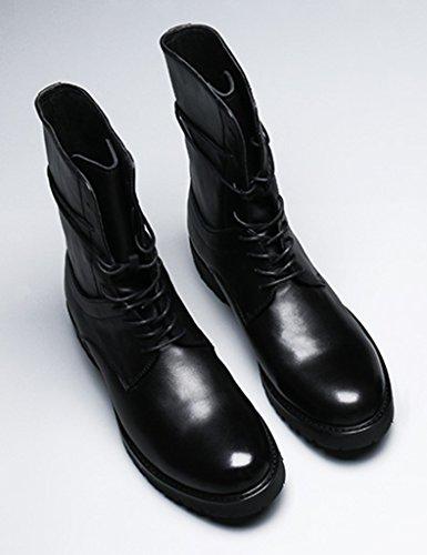 Zapatos De Cuero Para Hombres Martin Tide Leather Botas Para Hombres Zapatos De Moda Locomotora De Cuero Botas Zapatos (color: Negro, Talla: Eu43 / Uk8) Negro